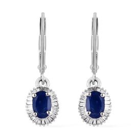 1.45 Ct.Burmese Blue Sapphire and Diamond Halo Drop Earrings in 9K White Gold