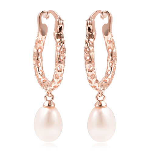 RACHEL GALLEY Lattice Collection - Freshwater White Pearl Drop Hoop Earrings (with Clasp) in Rose Go