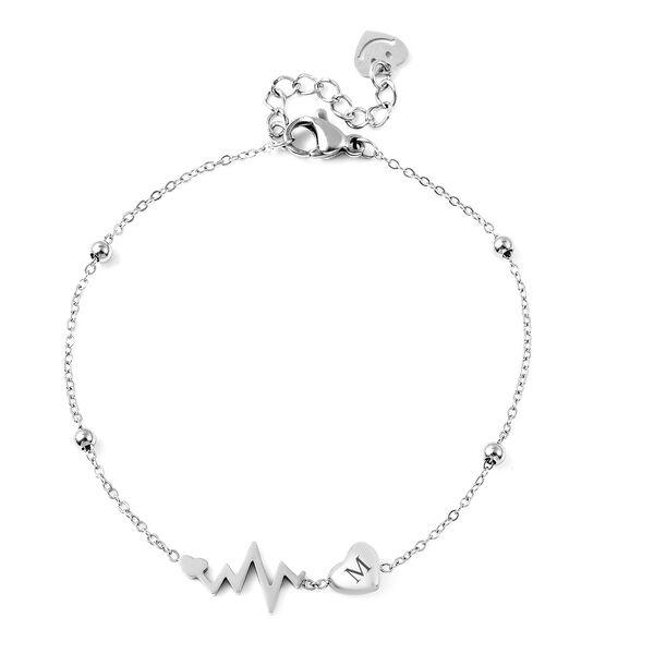 Personalised Engravable Initial Heart Beat Steel Bracelet, Size 7+1 Inch, Stainless Steel