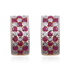 Red Carpet Collection- Burmese Ruby (Rnd) and Natural Cambodian Zircon Earrings (with Push Back) in Sterling Silver 4.540 Ct, Silver wt 8.50 Gms.