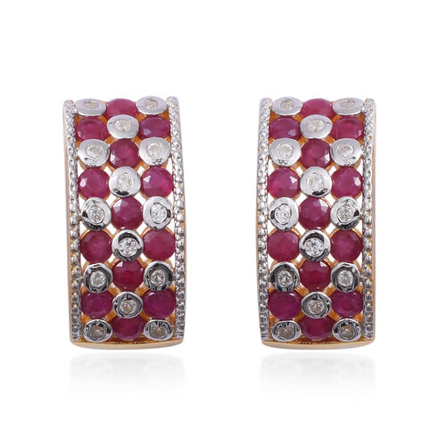 Red Carpet Collection- Burmese Ruby (Rnd) and Natural Cambodian Zircon Earrings (with Push Back) in Gold Overlay Sterling Silver 4.540 Ct, Silver wt 8.50 Gms.