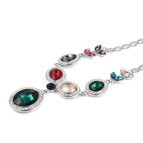Simulated Emerald (Ovl), Multi Colour Simulated Gemstone Necklace (Size 20 with 2 inch Extender) in Silver Tone