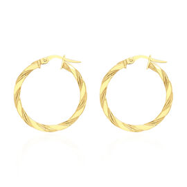 9K Yellow Gold Twist Creole Hoop Earrings (with Clasp), Gold wt 1.36 Gms
