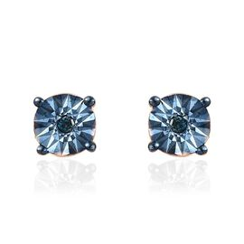 Teal Blue Diamond (Rnd) Stud Earrings (with Push Back) in 14K Gold and Blue Overlay Sterling Silver.