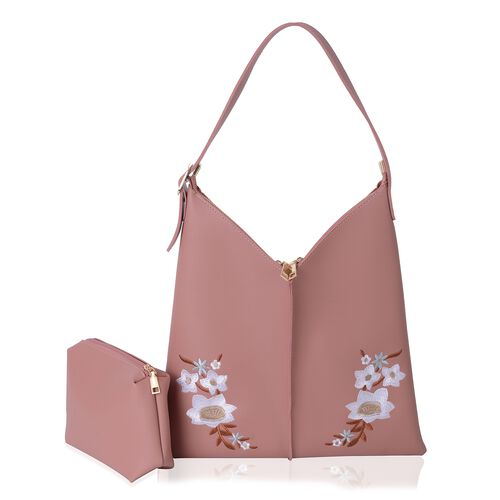 Embroidery Flower Pattern Large Handbag (Size 37x36 Cm) and Small Handbag (Size 20x15 Cm)