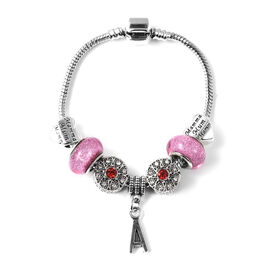 A Initial Charm Bracelet for Children in Simulated Pink Colour Bead, Red and White Austrian Crystal