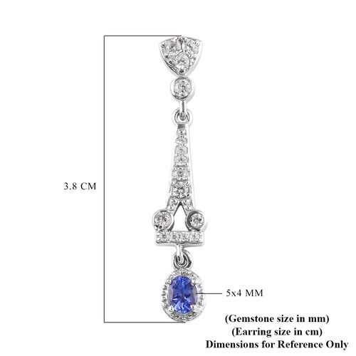 Tanzanite and Natural Cambodian Zircon Dangling Earrings (with Push Back) in Platinum Overlay Sterling Silver 1.80 Ct.