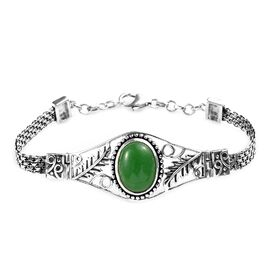 Green Jade (Ovl 16x12 mm) Bracelet (Size 7.5) in Sterling Silver 11.50 Ct, Silver wt 13.00 Gms