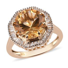 WEBEX- 9K Yellow Gold AA Citrine (Oct 3.700 Ct) Diamond Ring 4.00 Ct.
