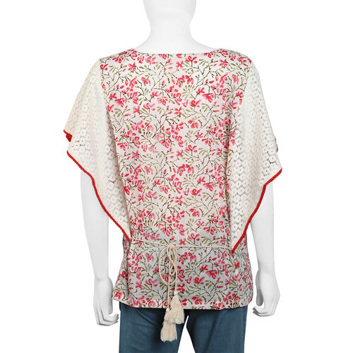 100% Cotton Floral Printed Top with Butterfly Style Lace Hem Sleeves (Size 65x82 Cm) - Pink