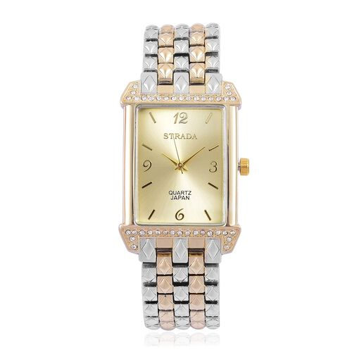 STRADA Japanese Movement White Austrian Crystal Water Resistant Watch in Yellow Gold and Silver Tone with Stainless Steel Back
