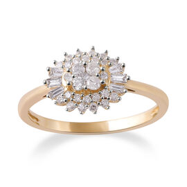 9K Yellow Gold SGL CERTIFIED Diamond (Rnd and Bgt) (I3 / G-H) Ring 0.500 Ct.