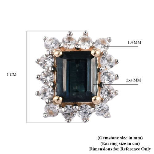 9K Y Gold AAA Indicolite and Natural Cambodian Zircon Stud Halo Earrings (With Push Back)1.50 Ct.