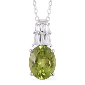 Hebei Peridot (Very Rare Size Ovl 10x8 mm 2.50 Ct) and White Topaz  Pendant With Chain in Rhodium Overlay Sterling Silver 2.800 Ct.
