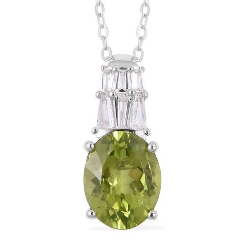 Hebei Peridot (Very Rare Size Ovl 10x8 mm 2.50 Ct) and White Topaz  Pendant With Chain in Rhodium Ov