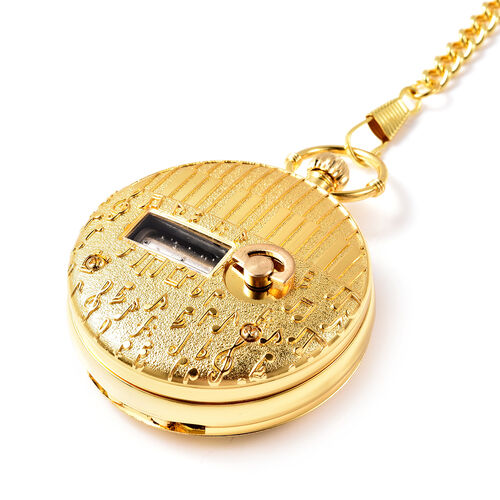 STRADA Japanese Movement Train Pattern Water Resistant Music Pocket Watch with Chain (Size 14) in Yellow Gold Tone