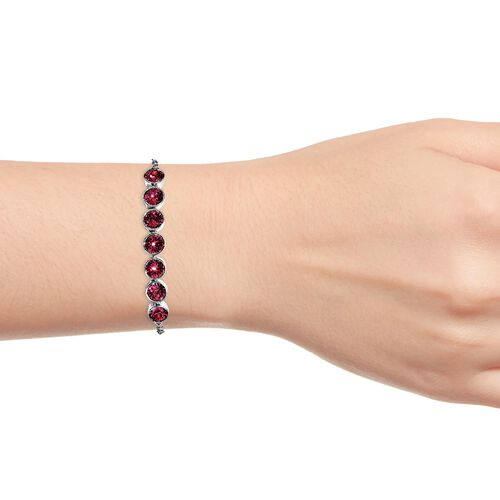 J Francis - Crystal from Swarovski Ruby Colour Crystal (Rnd) Adjustable Bracelet (Size 6.5-9.5) in Platinum Plated