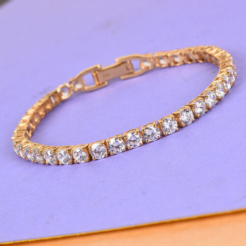 J Francis - 14K Gold Overlay Sterling Silver Tennis Bracelet (Size 7.5)  Made with SWAROVSKI ZIRCONIA 18.77 Ct, Silver wt 10.61 Gms