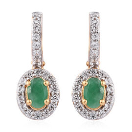 Kagem Zambian Emerald (Ovl), Natural Cambodian Zircon Earrings (with Clasp) in 14K Gold Overlay Ster