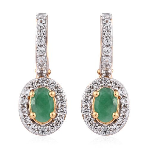 1.75 Ct Zambian Emerald and Cambodian Zircon Halo Earrings in Gold Plated Sterling Silver