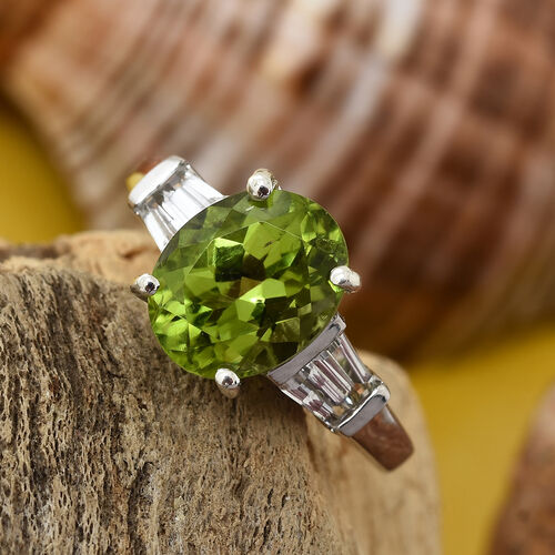 Rare Size Hebei Peridot (Ovl 2.40 Ct), White Topaz Ring in Platinum Overlay Sterling Silver 2.750 Ct.