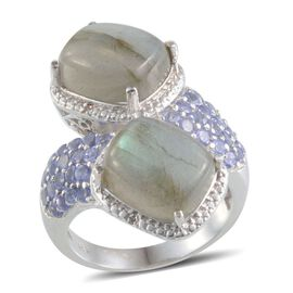 Labradorite (Cush), Tanzanite and Diamond Crossover Ring in Platinum Overlay Sterling Silver 13.770 Ct.