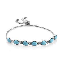 Blue Howlite (Ovl) Bracelet (Size 9.5 Adjustable) in Stainless Steel 4.750 Ct.