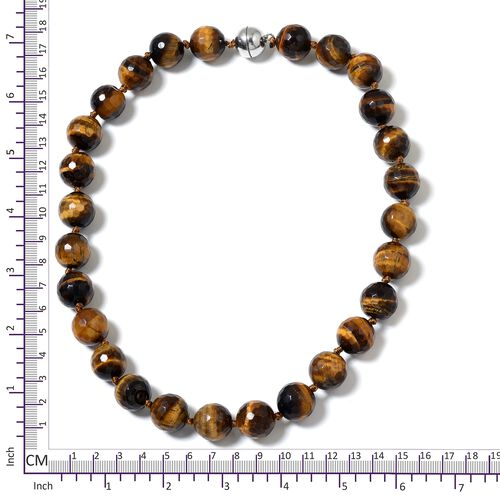 Very Rare Size Tigers Eye Ball Necklace (Size 20) with Magnetic Clasp in Rhodium Plated Sterling Silver 730.500 Ct.