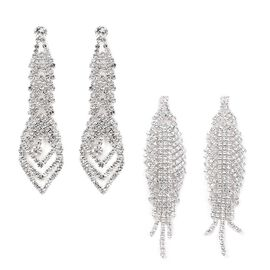 2 Piece Set - White Austrian Crystal (Rnd) Earrings (with Push Back) in Silver Tone