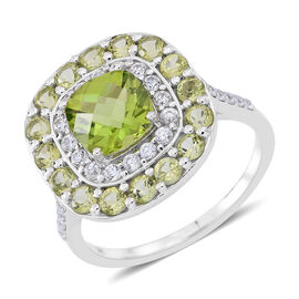 9K W Gold AAAA Hebei Peridot (Cush), Natural Cambodian Zircon Ring 5.000 Ct., Gold wt 3.80 Gms.