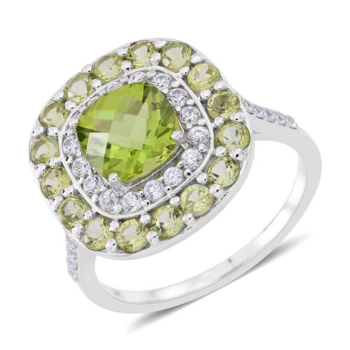 9K White Gold AAAA Hebei Peridot (Cush), Natural Cambodian Zircon Ring 5.000 Ct., Gold wt 4.40 Gms.