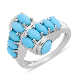 Arizona Sleeping Beauty Turquoise (Ovl and Rnd) Bypass Ring in Rhodium Overlay Sterling Silver 2.90