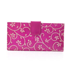 100% Genuine Leather Fuchsia Colour Handpainted Flower and Leaf Pattern Wallet with RFID Blocking (Size 22.75x11.5x3 Cm)