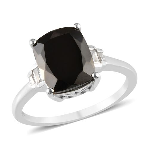 2.68 Ct Elite Shungite and Zircon Solitaire Design Ring in Platinum Plated Silver
