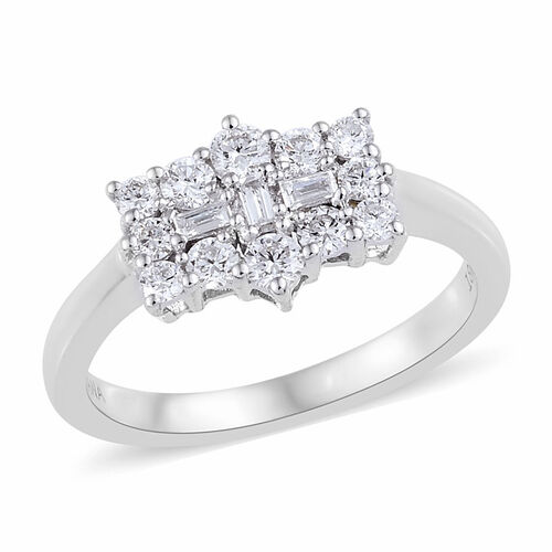 ILIANA 0.50 Ct Diamond Boat Cluster Ring in 18K White Gold 3.50 Grams IGI Certified SI GH