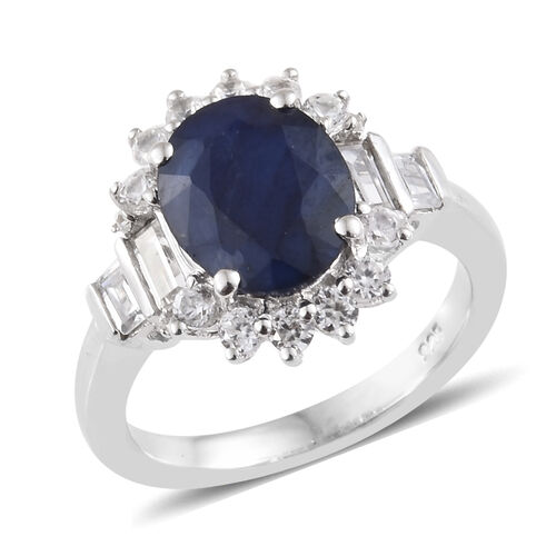 Kanchanaburi Blue Sapphire (Ovl 3.00 Ct), Natural Cambodian Zircon Ring in Platinum Overlay Sterling