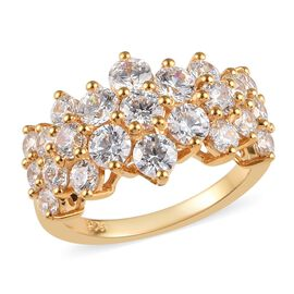 J Francis - VALENTINE MUST HAVE Yellow Gold Vermeil Sterling Silver (Rnd) Ring Made with SWAROVSKI Z