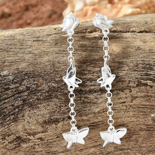 Designer Inspired-Sterling Silver Butterfly Dangle Earrings (with Push Back), Silver wt 5.33 Gms.