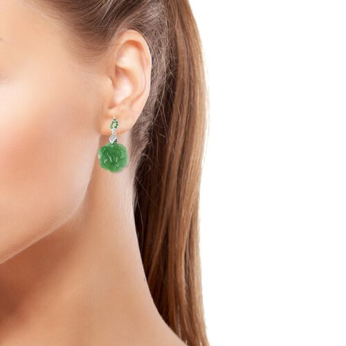 Carved Green Jade, Russian Diopside and Natural White Cambodian Zircon Floral Earrings (with Push Back) in Rhodium Overlay Sterling Silver 25.850 Ct.