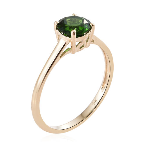 9K Yellow Gold AAA Russian Diopside (Rnd) Solitaire Ring 0.850 Ct.