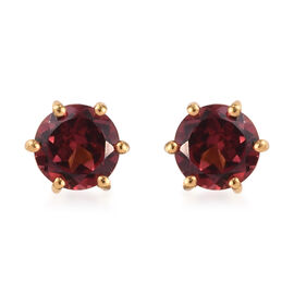 Rose Garnet Stud Earrings (with Push Back) in 14K Gold Overlay Sterling Silver 1.25 Ct.