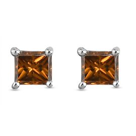 9K White Gold SGL Certified Red Diamond (I3) Earrings (with Push Back) 0.25 Ct.
