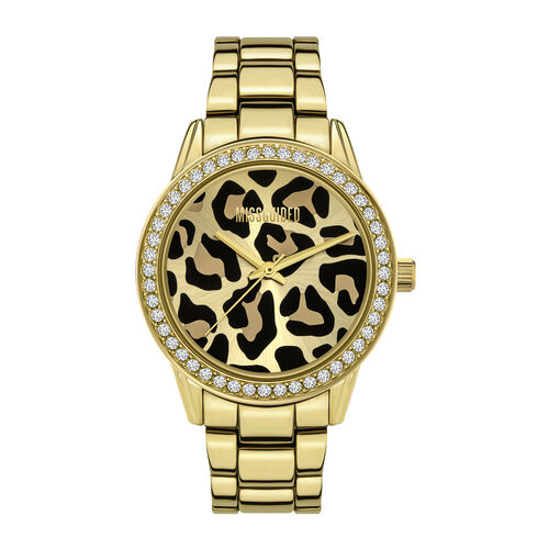 MISSGUIDED Ladies Gold Sunray Leopard Print Dial with Stone Set Bezel Watch in Gold Tone with Chain