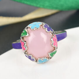 GP Itallian Garden Leaf and Flower - Pink Opal and Blue Sapphire Enamelled Ring in Platinum Overlay Sterling Silver 3.27 Ct.