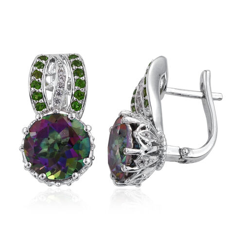 Mystic Coated Quartz (Rnd), Russian Diopside, Natural Cambodian Zircon Earrings in Platinum Overlay Sterling Silver 12.444 Ct. Silver wt 6.32 Gms.