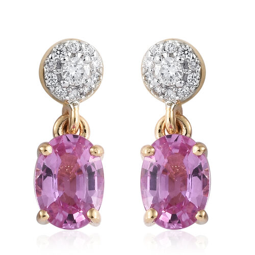 ILIANA 18K Yellow Gold AAAA Pink Sapphire (Ovl 1.75 Ct), Diamond ( SI/G-H) Earrings (with Screw Back) 2.000 Ct