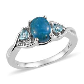 Peruvian Peacock Opalina (Ovl), Paraibe Apatite Ring in Platinum Overlay Sterling Silver 1.00 Ct.