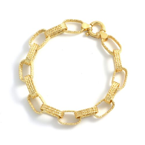 Viale Argento Yellow Gold Overlay Sterling Silver Link Bracelet (Size 7.5)