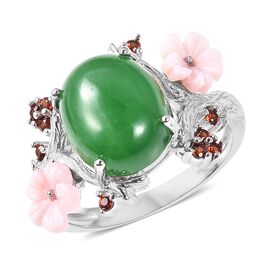 JARDIN COLLECTION Green Jade and Multi Gemstone Floral Ring in Rhodium Plated Sterling Silver