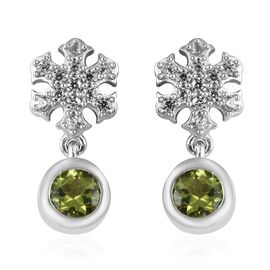 Hebei Peridot (Rnd), Natural Cambodian Zircon Snowflake Earrings (with Push Back) in Platinum Overla